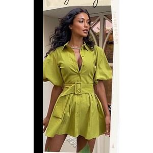 Zara Voluminous  Sleeve Dress With Belt